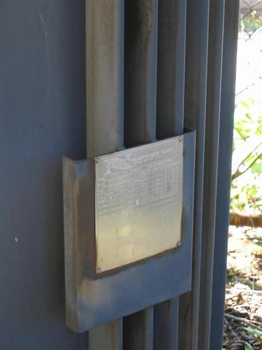Transformer manufacturer's plaque