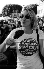 Stupid raisins, stay out of my cookies...while I eat my turkey leg :) (Dimpleicious) Tags: blackandwhite bw food me turkey myself nikon eating fair meat hungry orangecounty threadless oc turkeyleg fairfood ocfair threadlesstshirt nikond40 mymombeingthephotographer