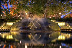 Captain Cook Memorial Fountain (lemmingstone) Tags: park longexposure water fountain night newcastle lights australia spray nsw hdr civicpark captaincookmemorialfountain