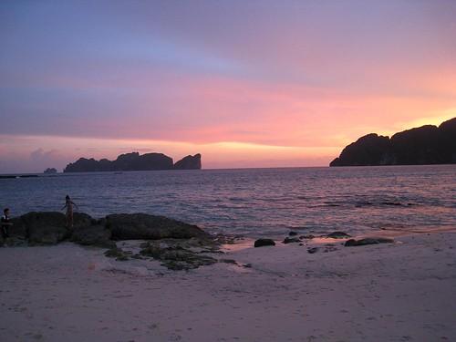Sunset over Koh Phi Phi Leh as seen from Long Beach