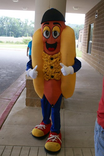 "Because nothing says, ""Welcome to Elementary School"" like a giant anthropomorphized wiener.  From Sonic."