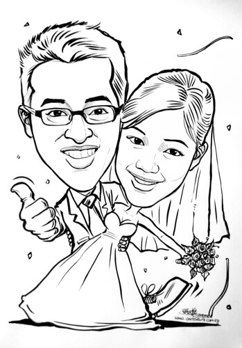 Couple wedding caricatures on magnet