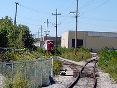 Spotting cars on insustrial factory spur sidings. Bensenville Illinois. September 2007.