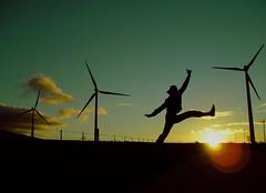 .i want to be a giant. (Ma Vera) Tags: light mill de dawn back jump wind dusk viento colourful cádiz bolonia molinos fotoconcursos