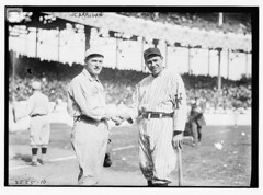 [Bill Carrigan (Boston AL) & Chief Meyers (New York NL) during World Series at Polo Grounds, NY, 1912 (baseball)]  (LOC) (The Library of Congress) Tags: al baseball redsox handshake libraryofcongress nl meyers bostonredsox americanleague pologrounds nationalleague newyorkgiants carrigan xmlns:dc=httppurlorgdcelements11 billcarrigan chiefmeyers 1912worldseries dc:identifier=httphdllocgovlocpnpggbain11864 newyorkbaseballgiants