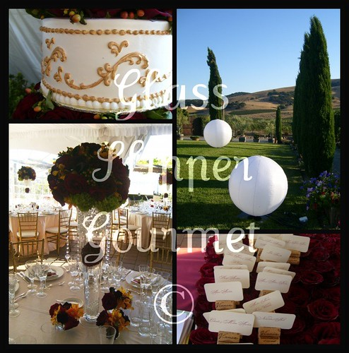 Vineyard Wedding Winethemed event with edible gold ckae lawn balloons