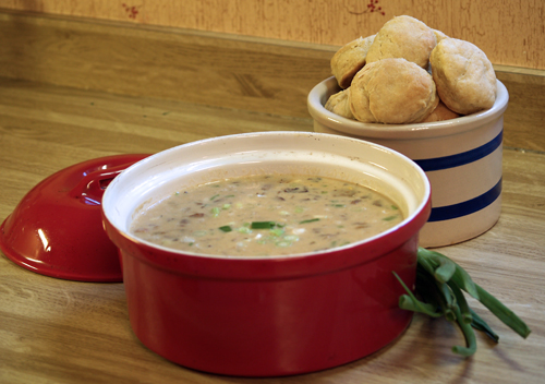 corn chowder and biscuits