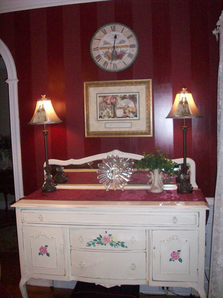 vintage buffet table in dining room