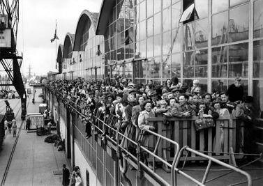 Emigrants waiting to board the S.S. Volendam, bound for Canada