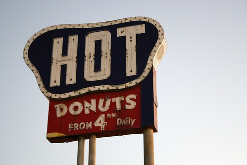 hot dunuts sign, early morning