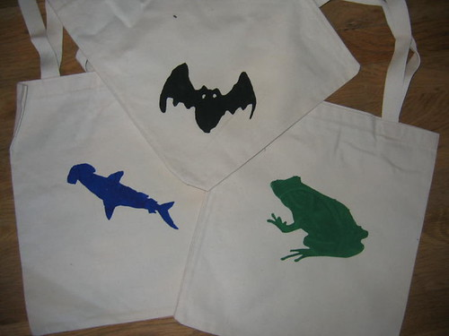 S's stenciled bags
