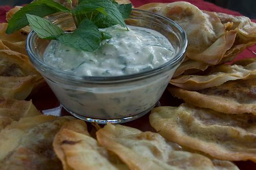 Mint Yogurt Sauce with Samosas