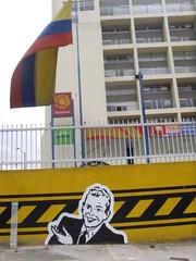 (nadie en campaña) Tags: white black stencil colombia flag bogotá amarillo plantilla nadie parqueadero