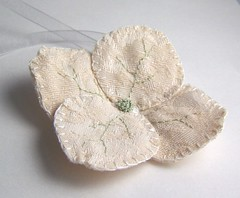 Pale Hydrangea Bloom Ornament (jennybubbletime/ Sea Pinks) Tags: christmas light flower green beige holidays blossom handmade embroidery cream sage ornament fabric bloom ribbon handsewn hydrangea offwhite handstitched ecru bubbletime