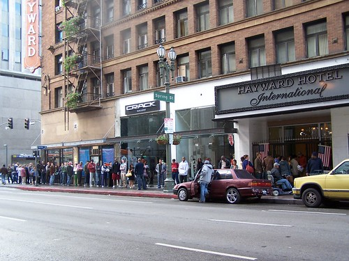 Hayward Hotel polling place line