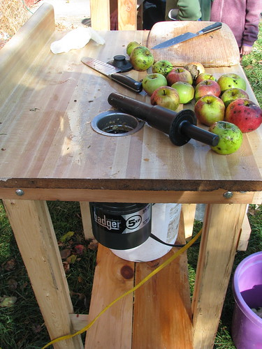 Mashing apples for cider