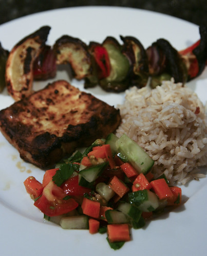 Cumin-Spiked Grilled Tofu with Rice, Grilled Veggies and Salad