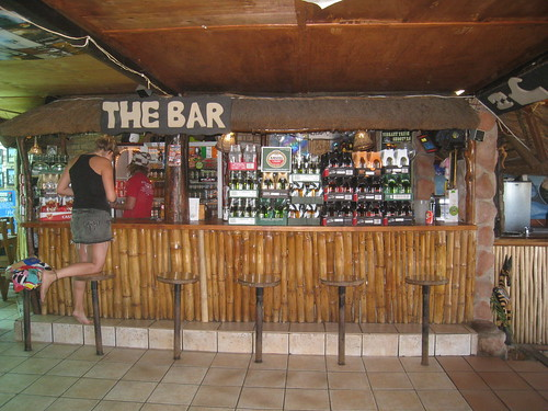 The Island Vibe bar being restocked after a busy Friday night