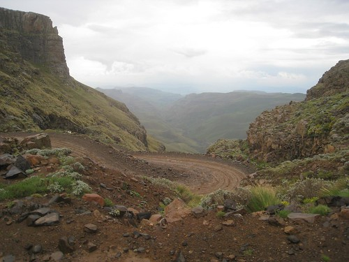 A view into South Africa from atop the Sani Pass (note a few of the many hairpin turns)