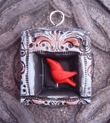 Little Red Bird Takes the Stage (gabriel studios) Tags: blue red black bird texture niche jewelry ornament clay handpainted impressed etsy stamped sculpted polymer gabrielstudios michelegabrielstudios