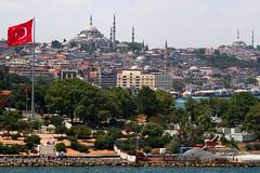 Istanbul - Sleymaniye Mosque (okbends) Tags: minaret flag istanbul mosque dome bosphorus turey sleymaniyemosque
