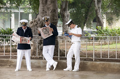 Cuba ... Men in Uniforms, Cuban Navy, Havana (Marie-Marthe Gagnon) Tags: vacation reading newspaper holidays havana cuba navy tourists castro fidel uniforms rockclimbing 4f 5photosaday cubavacation flickrchallengegroup flickrchallengewinner worldtrekker mariegagnon mariemarthegagnon cubavacations cubanvacation