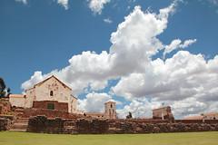 Incan and Colonial (daniel virella) Tags: sky green peru church inca cuzco clouds america américa cusco colonial perú andes fortress sacredvalley incan chinchero vallesagrado bellfry tawantinsuyu