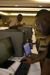 Michuki Mwangi configuring a PC for imaging