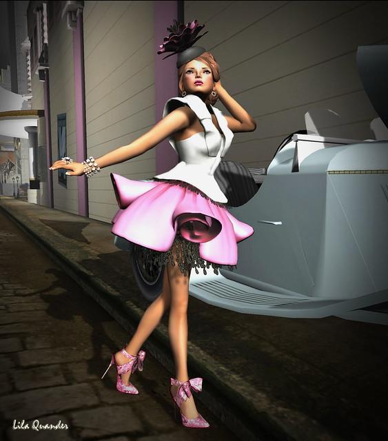 Donna Flora CRISTIANA -Fuxia  & LINDA Chiffon Shoes - Fuxia Peony