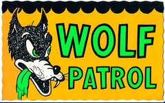Wolf Patrol (Devlin Thompson) Tags: sticker postcard hotrod bigbadwolf decal impko