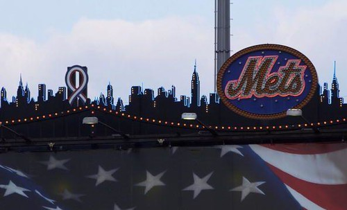Shea Stadium scoreboard - ribbon on the World Trade Center