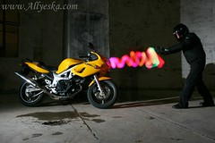my first light painting - Rob v's the bike (Allyeska) Tags: old light colour abandoned sports bike sport yellow speed painting fight colorful long exposure experimental mt time space australian ruin experiment surreal bikes australia 1999 mount motorbike burnt 99 cycle shutter vehicle canberra motor suzuki multicolored motorbikes sv sporty experimenting ruined motorcyle stromlo sv650s boysandtheirtoys 650s strobist mutlicoloured clolourful obersvatory