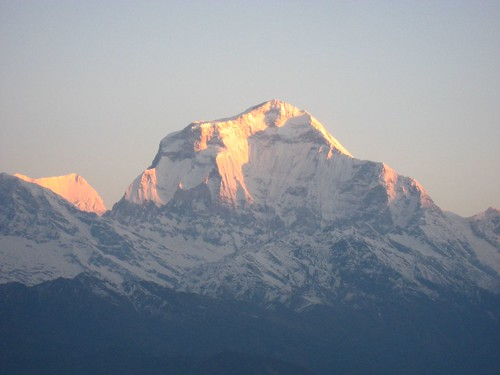Sunlight hits Dhauligiri's peak