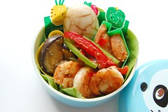 Mayo prawns and pickles (Food, Fash, Fit) Tags: lunch aubergine bento baran japanesecuisine teamarbledegg misocarrot
