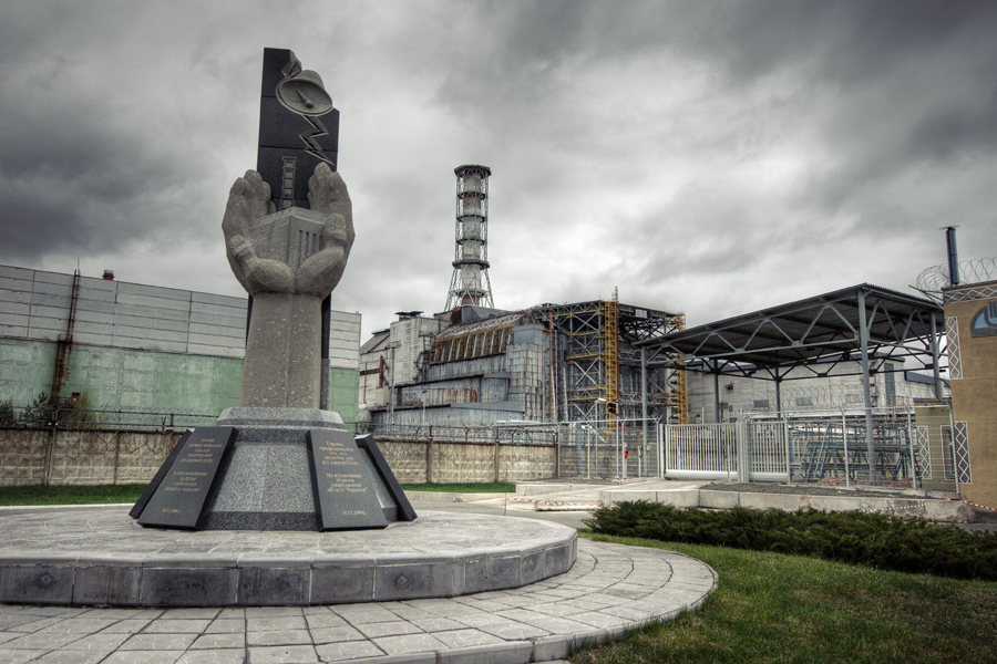 Chernobyl power plant with monument to the victims, photo: abandonia