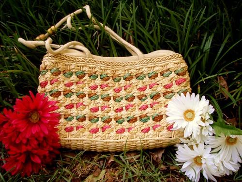 straw multicolored purse