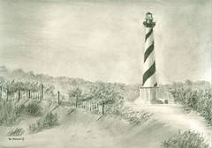 Cape Hatteras Lighthouse (adamsart) Tags: lighthouses drawings hatteras debbie outerbanks lighhouse capehatteraslighthouse capehatteras graphitedrawings outerbank charcoaldrawings