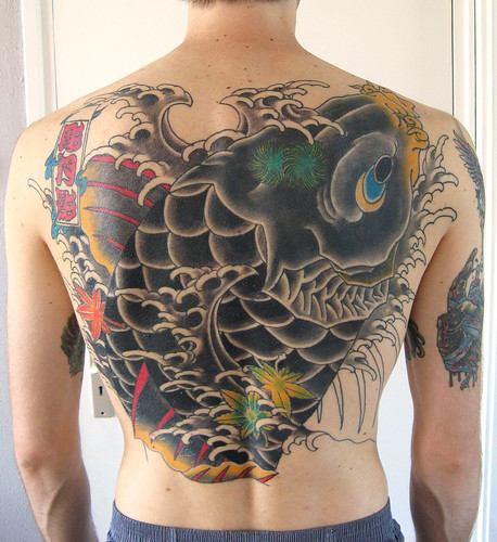 Full Back Tattoo,Black Koi Fish