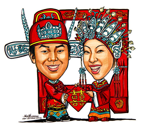 Couple wedding caricatures traditional Chinese wedding double happiness