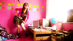 posed to death (Chazline) Tags: pink sunglasses silver death bedroom heart charlotte room posed faint