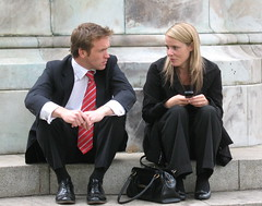 executive meeting? (jackeeadio) Tags: ireland people couple sitting candid belfast sit northernireland seated ulster belfastcityhall executives peoplesitting queenvictoriastatue
