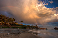 Somewhere Under the Rainbow (Jeffrey Sullivan) Tags: ocean california park county sunset sea copyright usa seascape castle beach jeff nature water rain clouds canon river landscape evening coast photo rainbow sand all state pacific little north dry pacificocean rights mendocino lightning van sullivan 2008 reserved hdr waterscape damme thundercloud mendocinocounty wildfires xti lpbeach