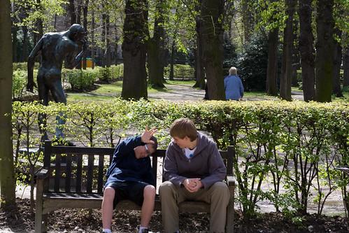 Boys in Rodin museum park