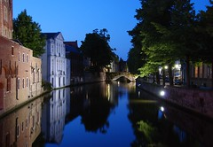 Brugge (Bruges) canal at night (Laurent L.) Tags: voyage city travel blue reflection history tourism nature water reflections river landscape lights canal europe nightshot belgium belgique riviere brugge peaceful canals unesco worldheritagesite historical bruges monuments oldtown tranquil veniceofthenorth canaux venisedunord flamish saariysqualitypictures bruggewasser