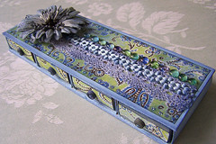 matchbox drawer (latarnia_morska) Tags: blue flower green glitter altered scrapbooking paper lace drop pebble drawer embellishment prima paisley matchbox