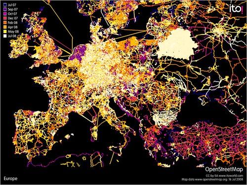 Europe OpenStreetMap edits