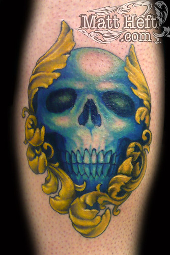 Blue Skull Tattoo by Matt Heft - Custom Tattoos & Fine Art