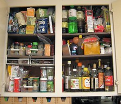 Before: Spice pantry in a jumble