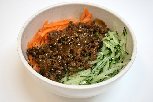 Zha Jiang Mian - Noodles with Mince in Braised Bean Sauce