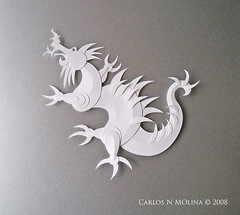 Koji's Dragon - Paper Sculpture Finished (Carlos N. Molina - Paper Art) Tags: japan paperart origami dragon arte asianart whitepaper papersculptures carlosnmolina papergenius paperforms origamipapel papermoduleskirigami